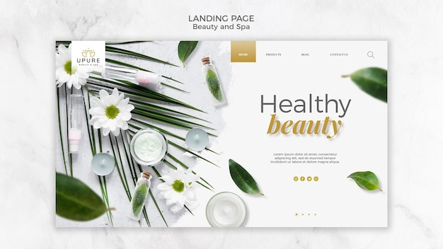 Beauty and spa landing page Free Psd