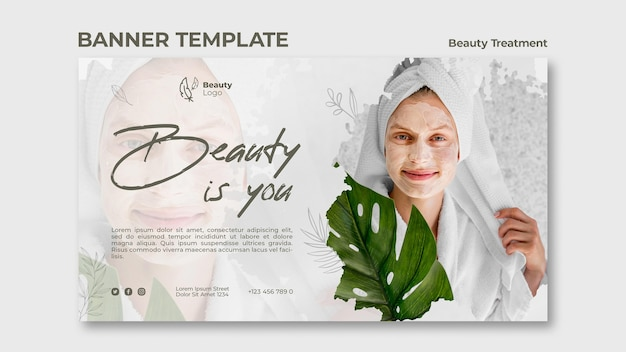 Beauty treatment concept banner template Free Psd