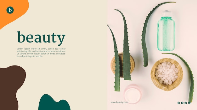 Beauty web template with beauty products Free Psd