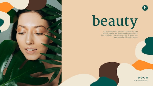 Beauty web template with a woman Free Psd