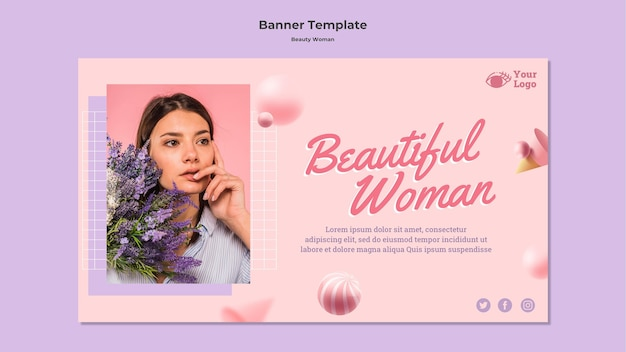 Modello della bandiera di concetto di donna di bellezza Psd Gratuite