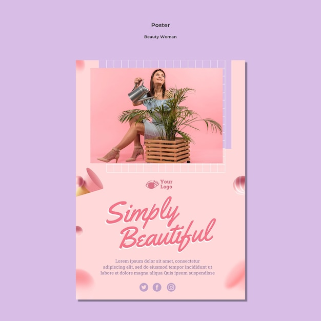 Modello del manifesto di concetto di donna di bellezza Psd Gratuite
