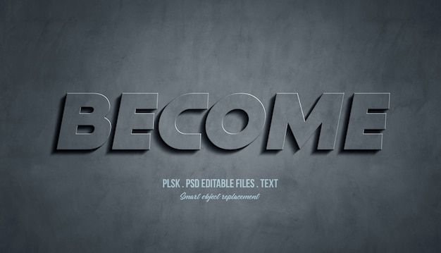 Become 3d text style effect Premium Psd