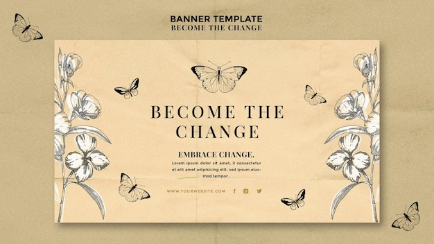 Become the change butterfly banner Free Psd
