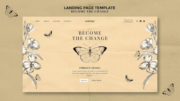 Become the change butterfly landing page Free Psd