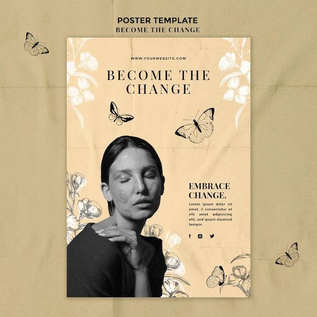Become the change poster template Free Psd