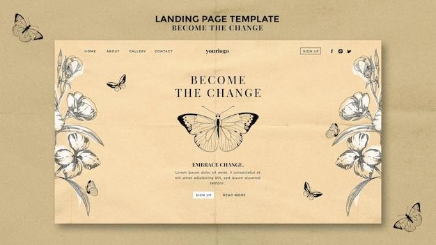 Станьте целевой страницей изменения бабочки Бесплатные Psd