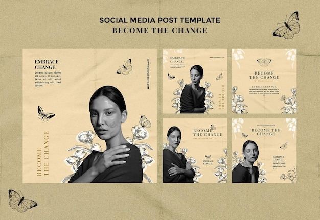 변화 소셜 미디어 게시물이 되십시오 프리미엄 PSD 파일