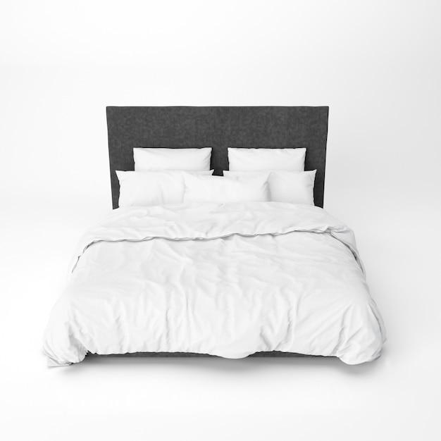 검은 침대 머리 받침과 침대 모형 무료 PSD 파일