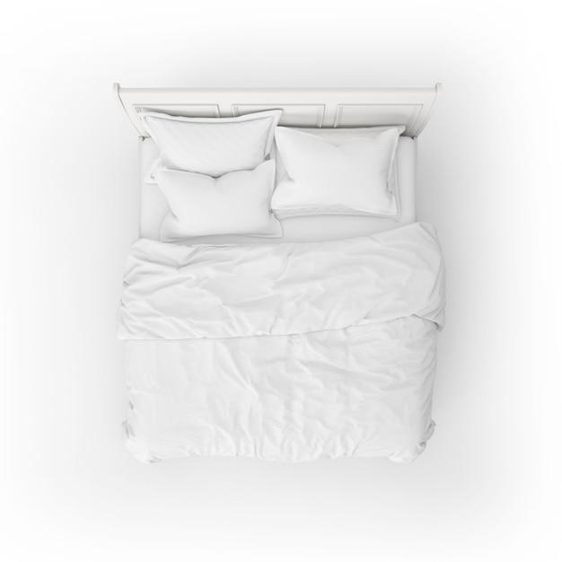 하얀 침대 머리 받침과 침대 모형 무료 PSD 파일