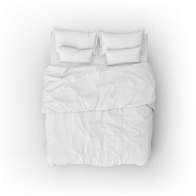하얀 시트와 베개로 침대 모형 무료 PSD 파일