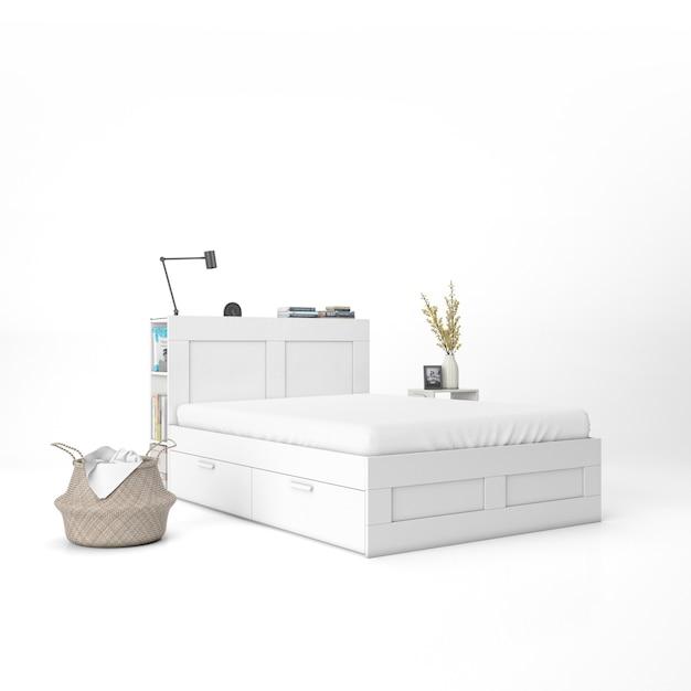 흰색 매트리스 이랑 침대 무료 PSD 파일