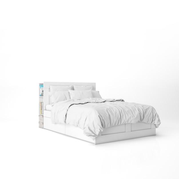 Кровать с белыми простынями макет Бесплатные Psd