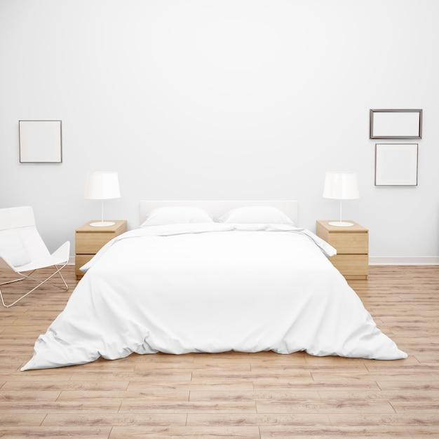 Camera da letto o camera d'albergo con letto matrimoniale con trapunta o trapunta bianca, mobili in legno e pavimento in parquet Psd Gratuite