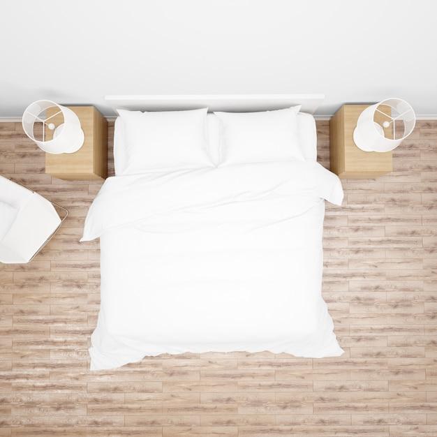 Спальня или номер в отеле с двуспальной кроватью с белым одеялом или одеялом, деревянной мебелью и паркетным полом, вид сверху Бесплатные Psd