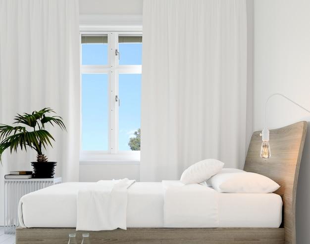 Спальня с кроватью и растением Бесплатные Psd