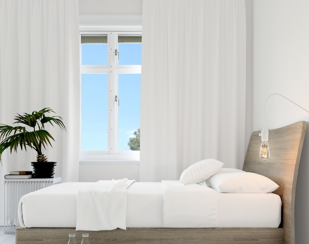 Bedroom with bed and plant Free Psd