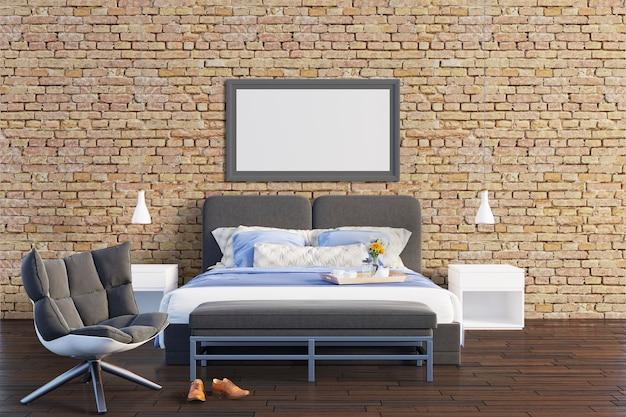 レンガの壁と寝室 Premium Psd