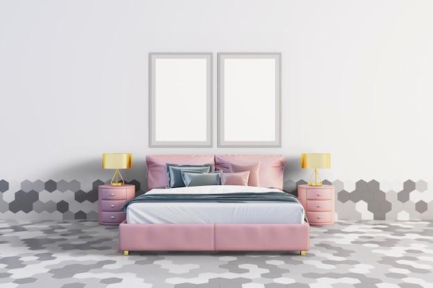 六角形のタイルの寝室 Premium Psd