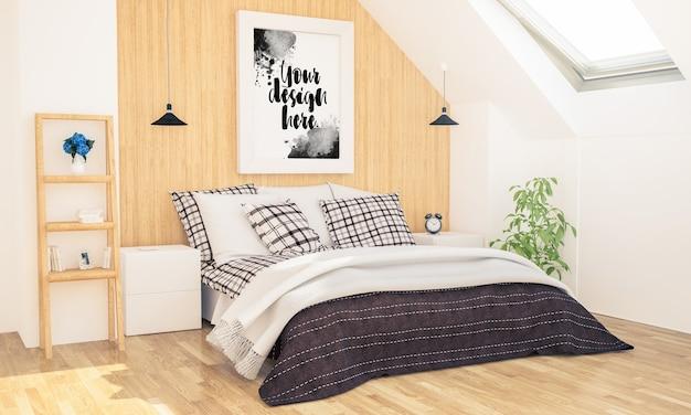 Спальня с макетом плаката на чердаке Premium Psd