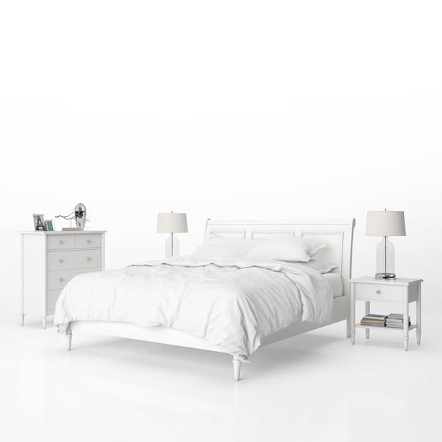 白い家具のモックアップ付きのベッドルーム 無料 Psd