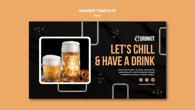 Beer concept banner template Free Psd