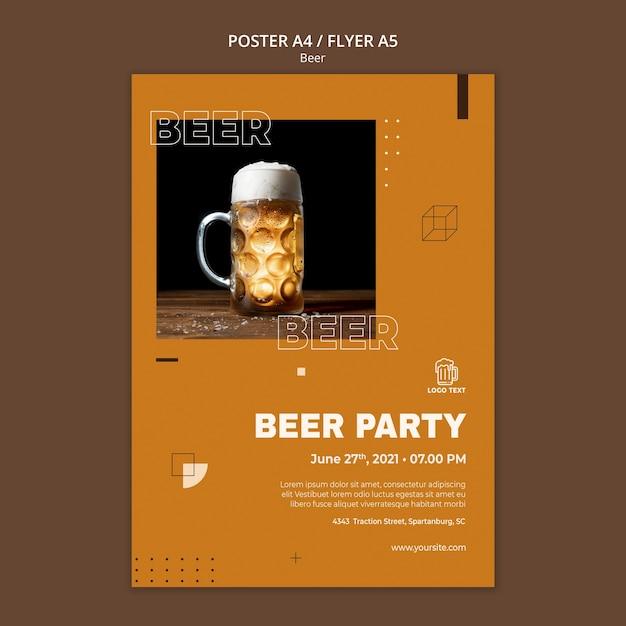Шаблон плаката концепции пива Бесплатные Psd