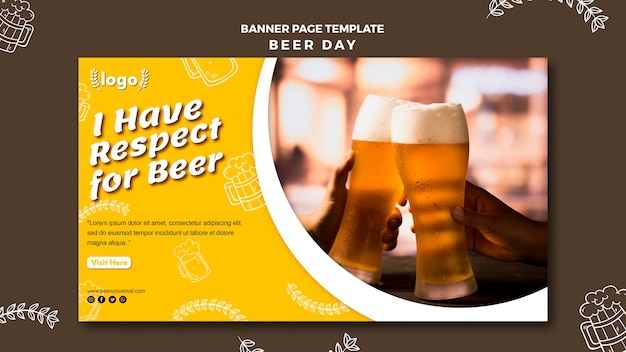 Шаблон страницы баннера дня пива Premium Psd