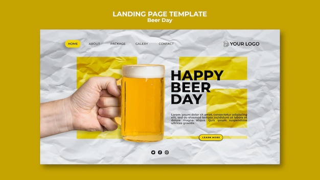 Beer day landing page theme Free Psd