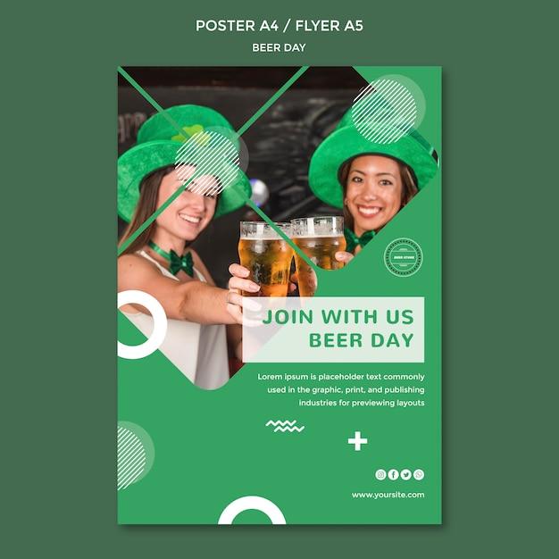 Шаблон концепции плаката дня пива Бесплатные Psd
