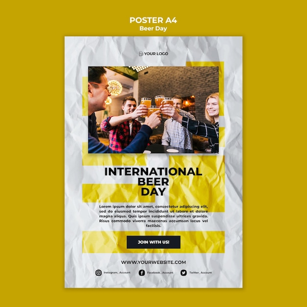 Концепция шаблона плаката дня пива Бесплатные Psd
