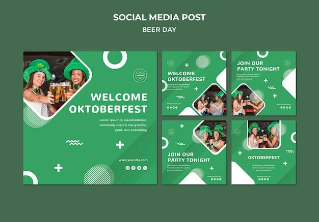 Концепция пивного дня в социальных сетях Premium Psd