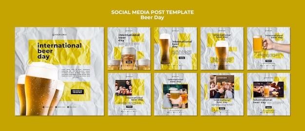 맥주의 날 소셜 미디어 게시물 프리미엄 PSD 파일