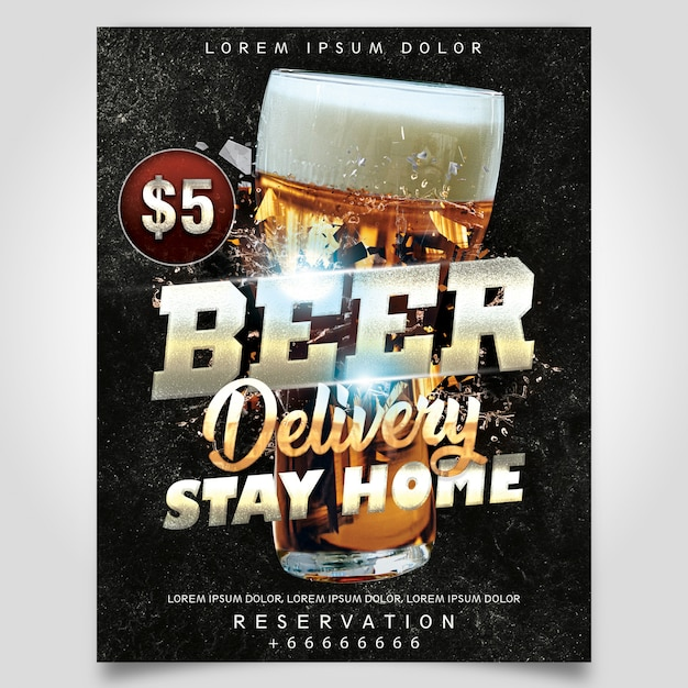 Beer delivery flyer template Premium Psd