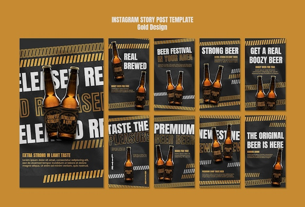 Beer festival instagram stories template Free Psd