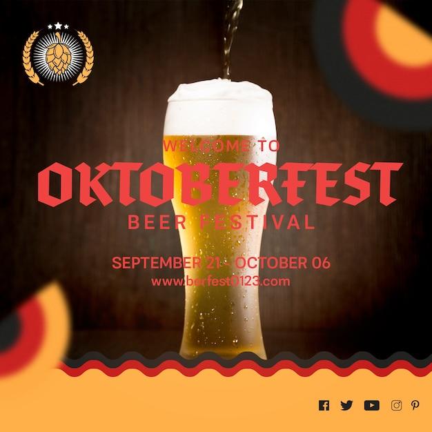 Beer glass for oktoberfest festival Free Psd