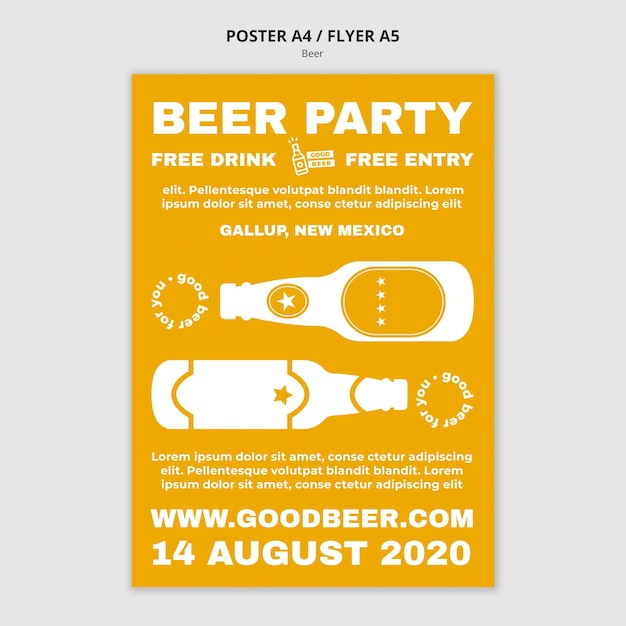 Beer party flyer template Free Psd