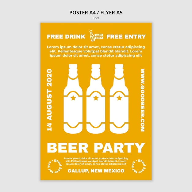 Beer party template poster Free Psd