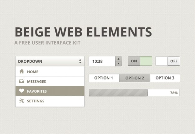 Beige user interface kit psd material Free Psd