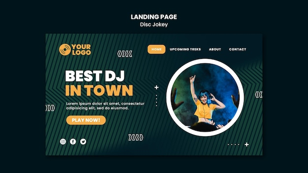 Best dj in town landing page template Free Psd