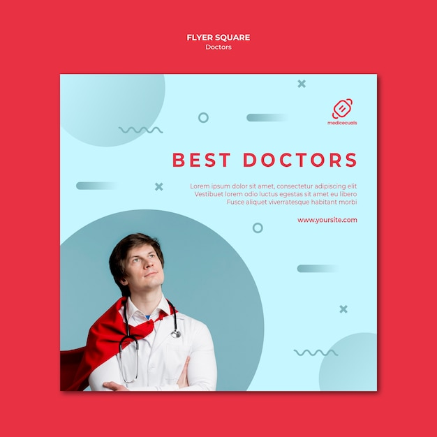 Best doctors square flyer template Free Psd