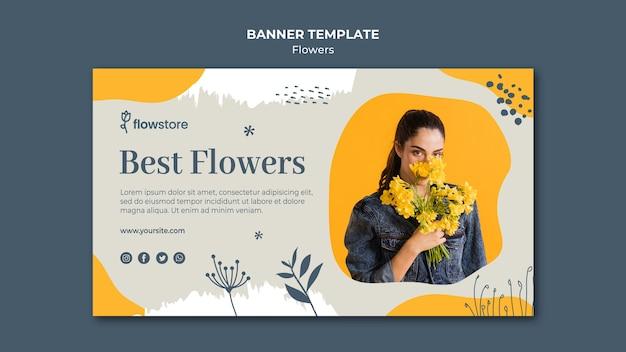 Лучший цветочный магазин и симпатичная деловая женщина Бесплатные Psd