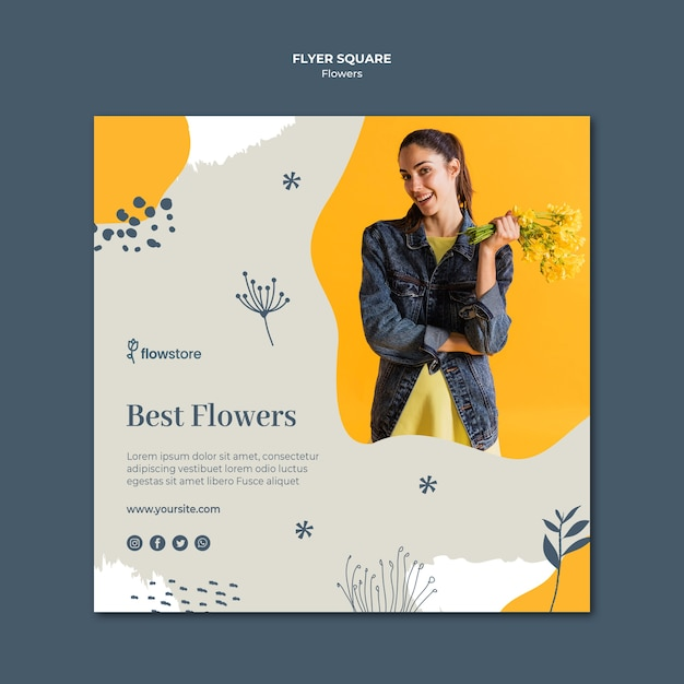 Best flower shop square flyer template Free Psd