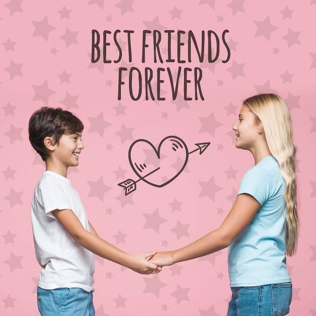 Лучшие друзья мальчик и девочка макет Бесплатные Psd