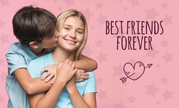 Лучшие друзья навсегда мальчик и девочка макет Бесплатные Psd