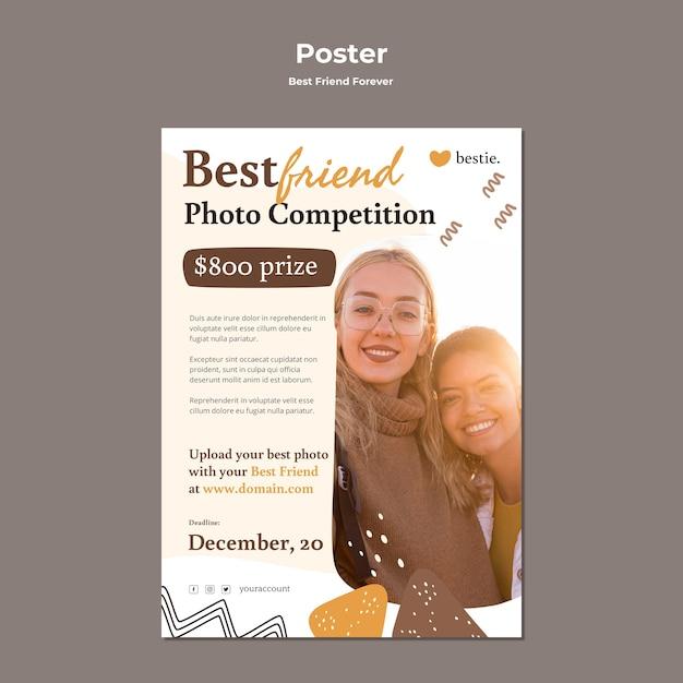Шаблон плаката лучшие друзья навсегда Premium Psd