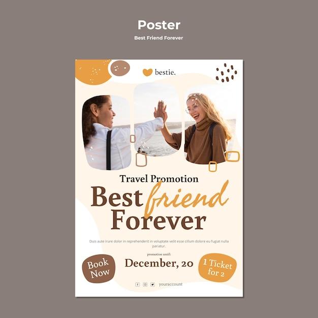 Шаблон плаката лучшие друзья навсегда Бесплатные Psd