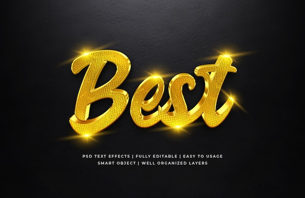 Best gold 3d text style effect Premium Psd