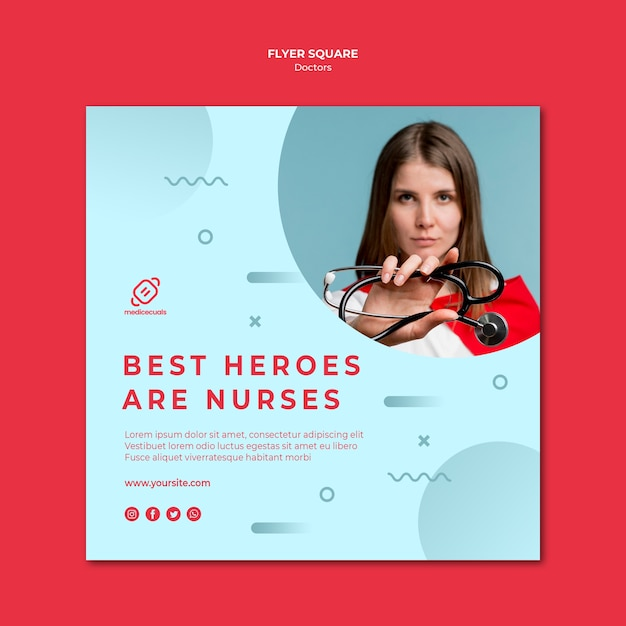 Best heroes are the medical stuff square flyer template Free Psd