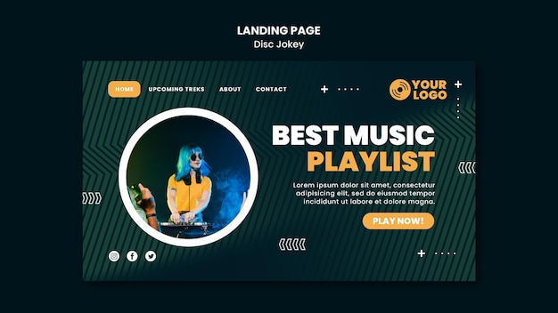Best music playlist landing page template Free Psd